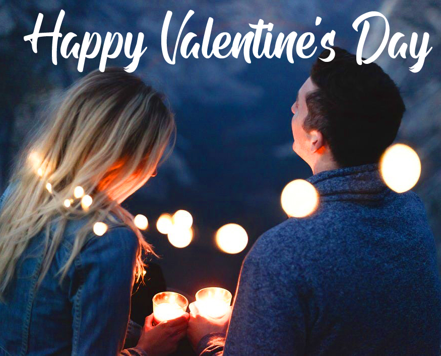 Best Couple in Night Scenery with Happy Valentines Day Message
