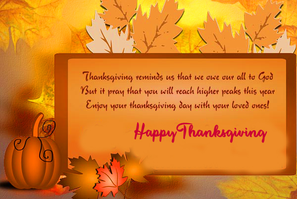 Blessing Quotes with Happy Thanksgiving Message