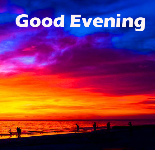 Colourful Sunset Scenery with Good Evening Wish