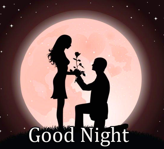 Couple in Moonlight with Good Night Wish