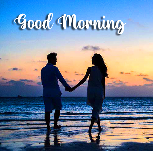 Couple on Beach with Good morning Wish