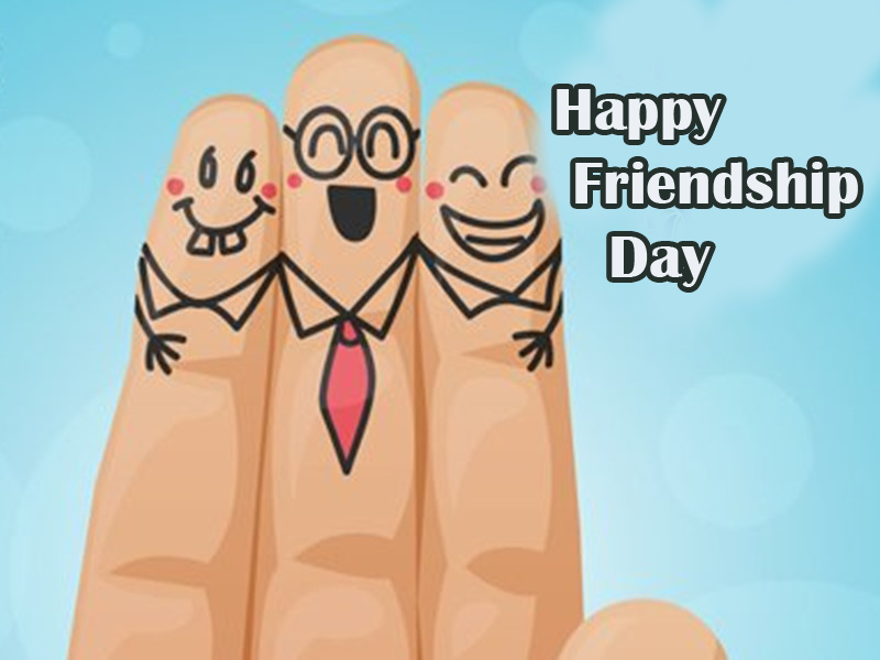 Fingers Cartoon with Happy Friendship Day Wish
