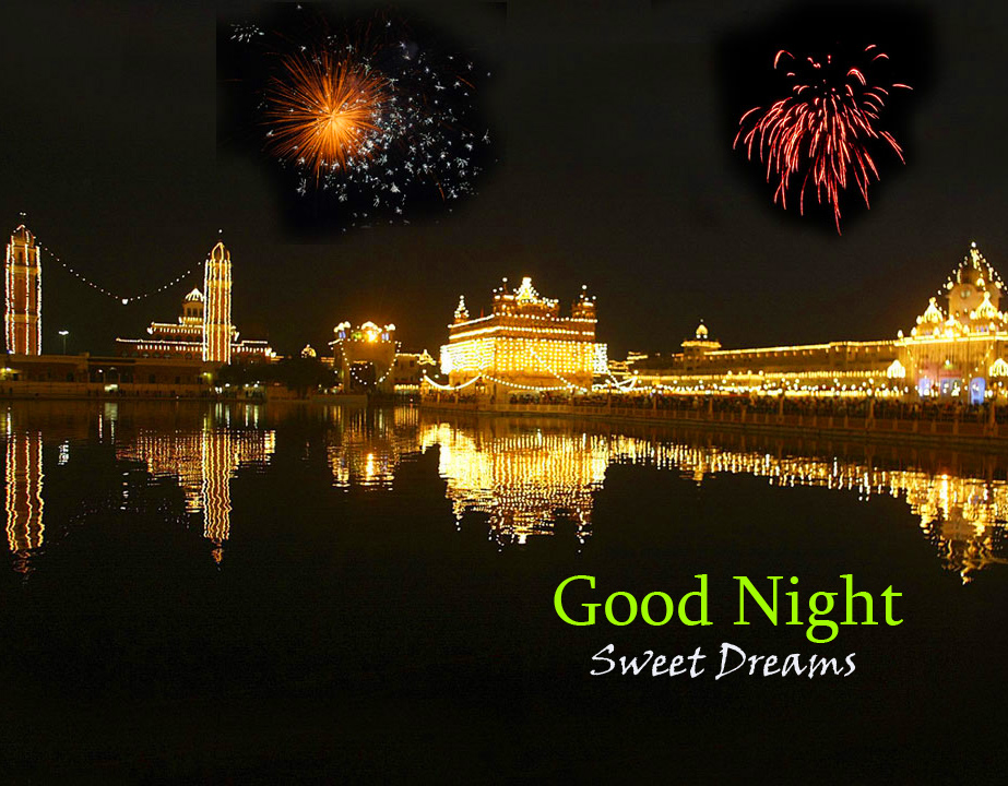 Golden Temple Night Scenery Good Night Sweet Dreams Pic