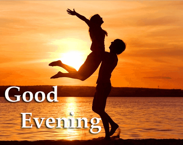 Good Evening Message with Couple Sunset Scenery
