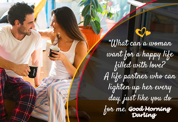 Good Morning Darling Wish with Couple Quotes