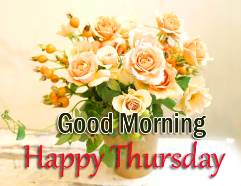 Good Morning Happy Thursday with Flowervase