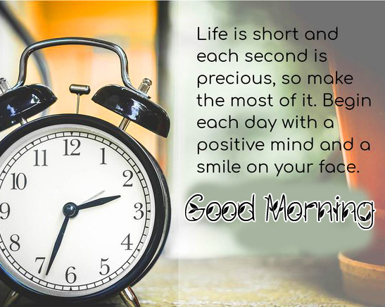 Good Morning Wish with Alarm Clock and Quotes