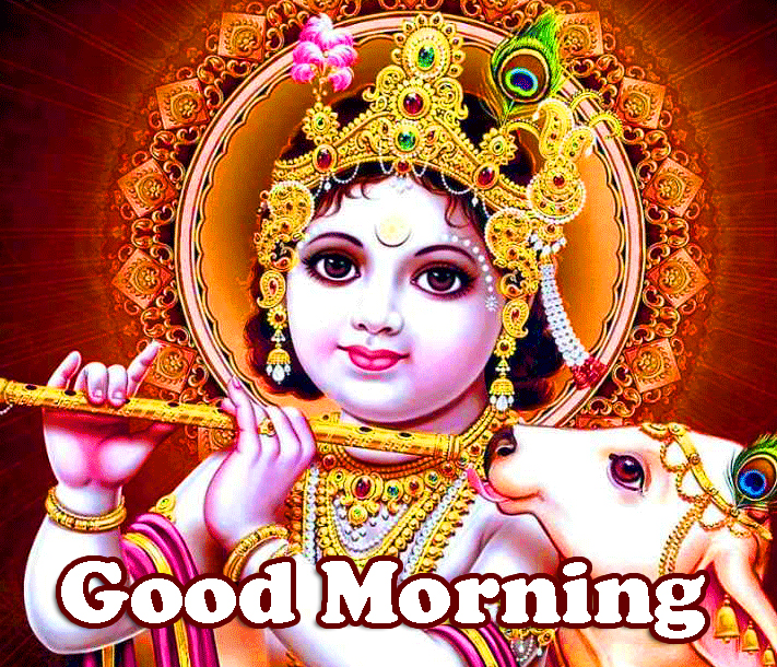 Good Morning Wish with Cute Krishna