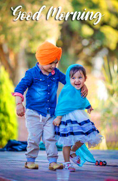 Good Morning Wish with Lovely Kids Couple