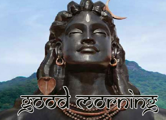 Good Morning Wish with Shiva Statue Image