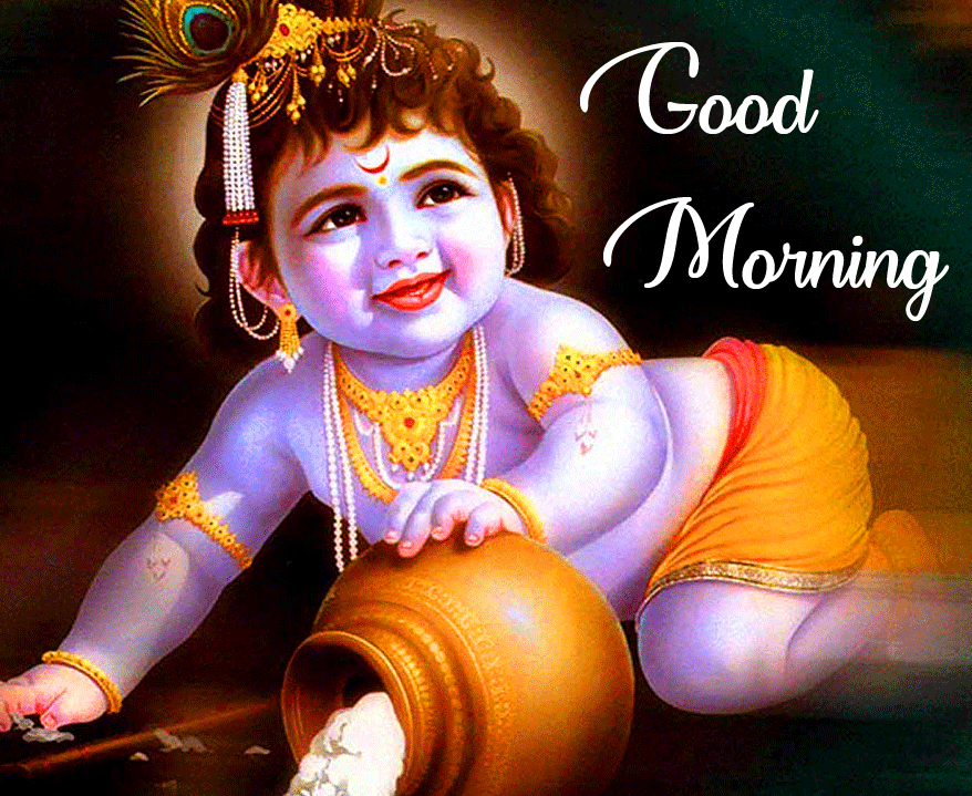 Good Morning Wishing with Cute Bal Krishna