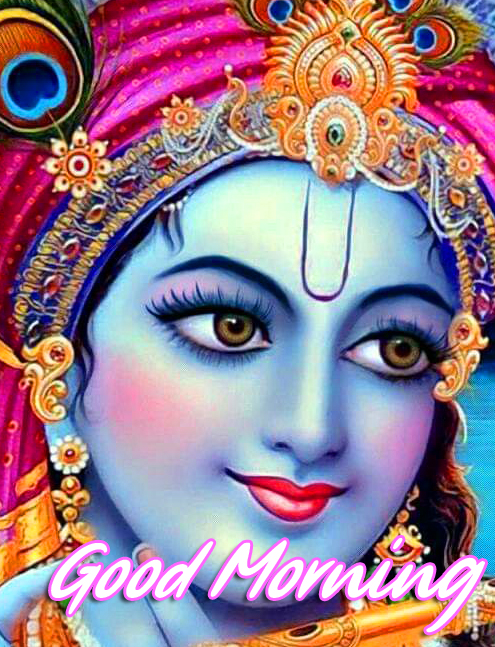 Good Morning with Beautiful Krishna Image