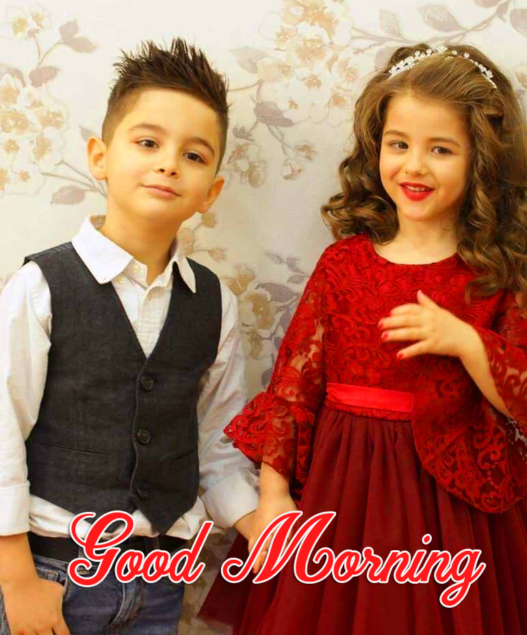Good Morning with HD Sweet Couple Kids Pic