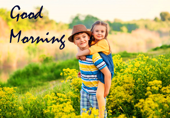 Good Morning with Happy Kids Couple Image HD