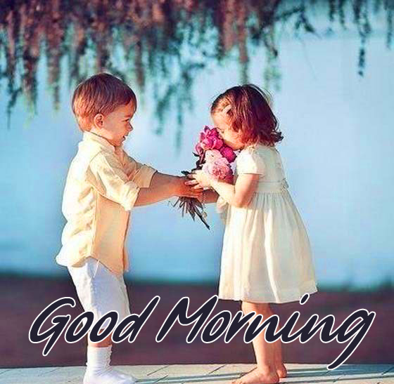 Good Morning with Kids Couple and Flowers