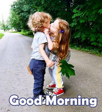 Good Morning with Kissing Kids Couple Pic HD