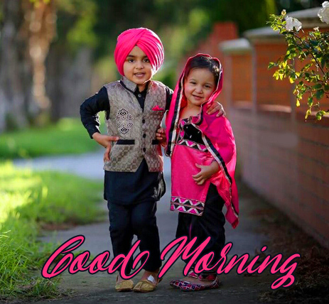 Good Morning with Love Kids Couple Pic