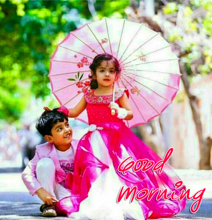 Good Morning with Lovely Kids Couple Image HD