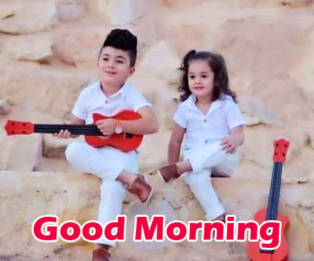Good Morning with Stylish Kids Couple Wallpaper