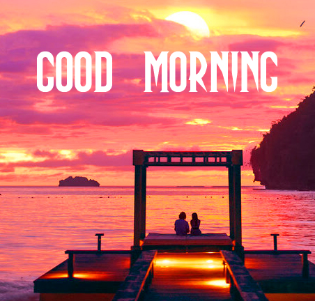 Good Morning with Sweet Couple on Beach