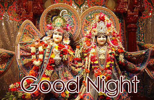 Good Night Message with HD Radha and Krishna