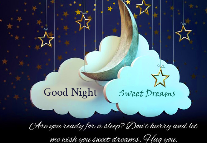 Good Night Sweet Dreams with Animated Cloud and Moon