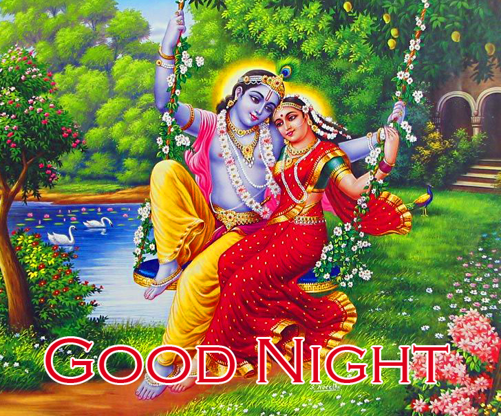 Good Night Wish with Radha and Krishna