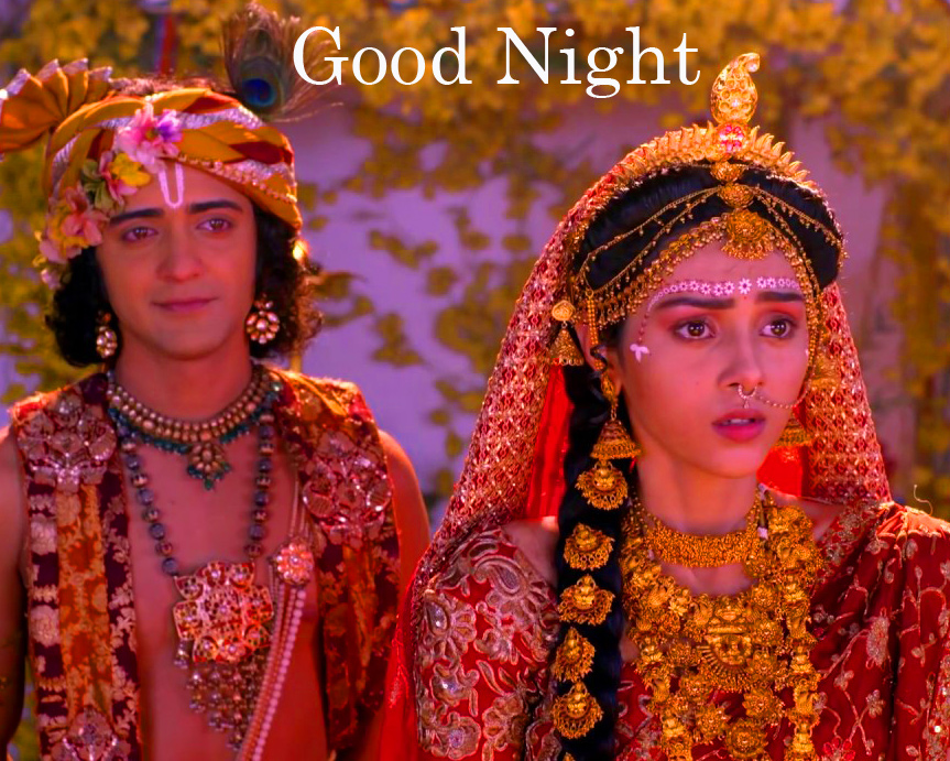 Good Night with Beautiful Radha and Krishna Picture