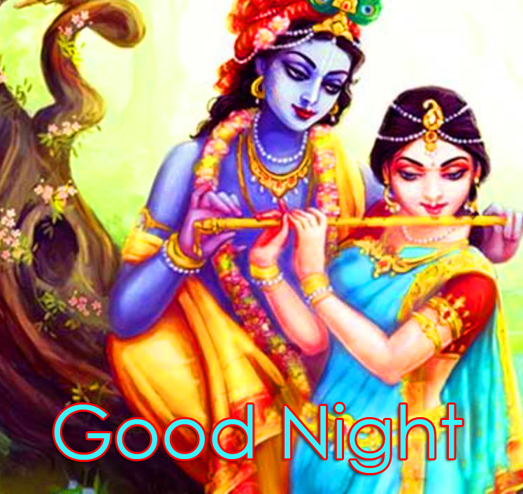 Good Night with Cute Radha and Krishna Pic