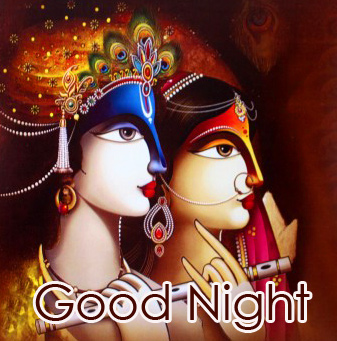 Good Night with Full HD Radha and Krishna Image
