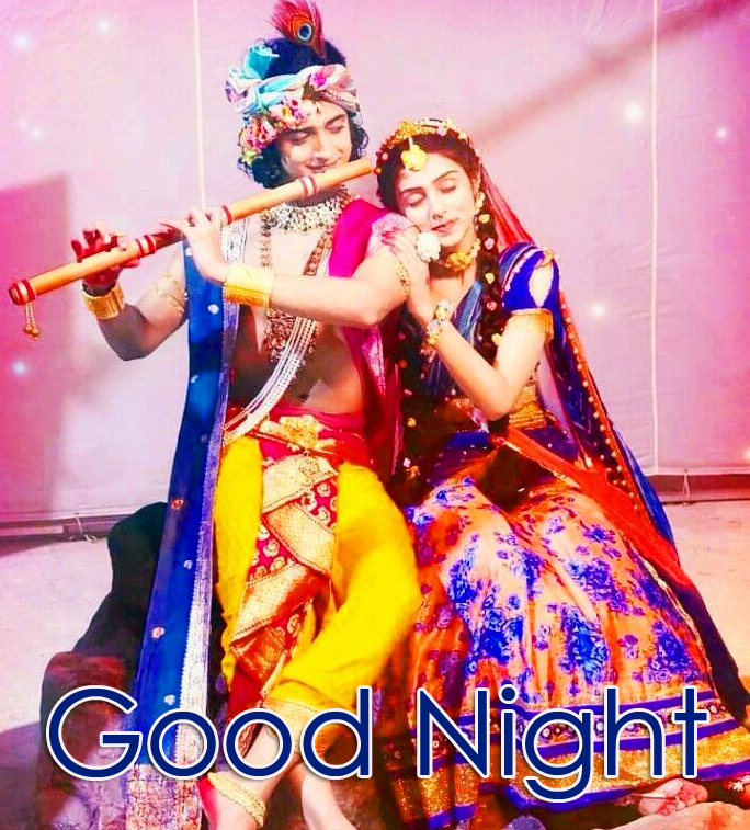 Good Night with Radha and Krishna Image