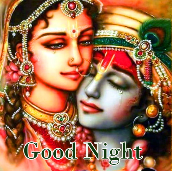 Good Night with Sad Radha and Krishna Pic