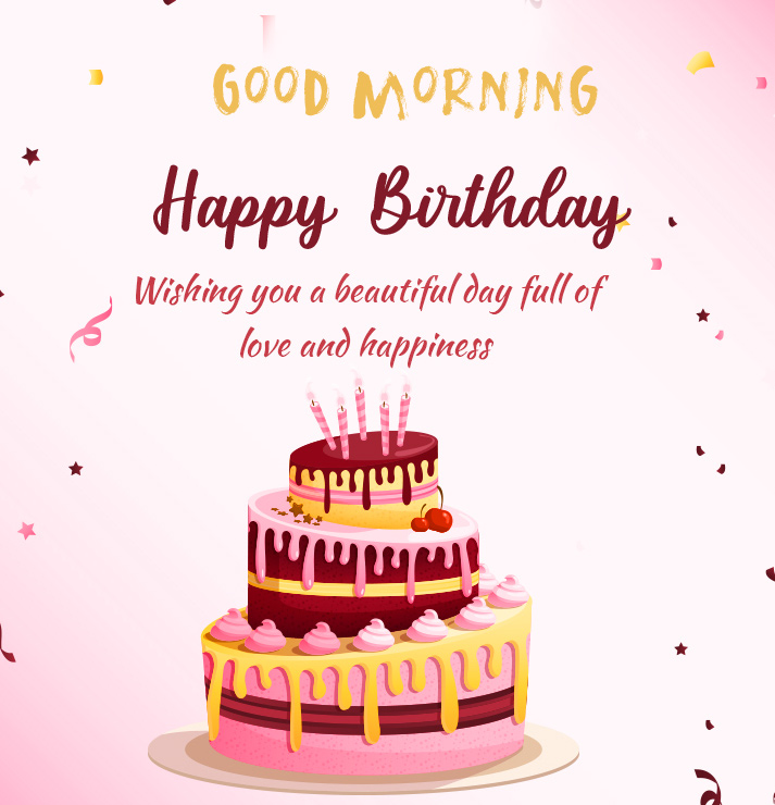 Happy Birthday Good Morning with Beautiful Message
