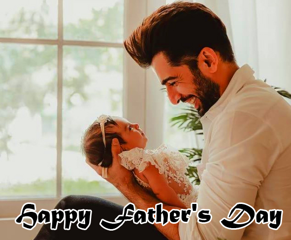 Happy Fathers Day Wish with Cute Dad and Daughter Pic