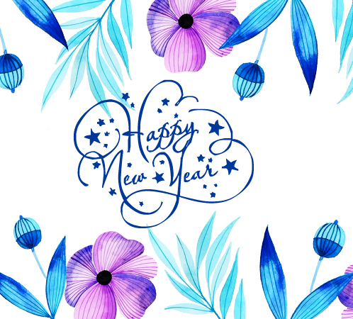Happy New Year Floral Picture
