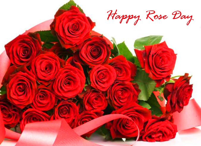 Happy Rose Day Red Roses Bouquet Image