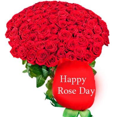 Happy Rose Day with Red Roses Bouquet