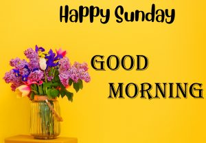 Happy Sunday Good Morning Message with Flower Vase