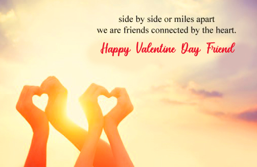 Happy Valentines Day Friend with Hearts of Hands