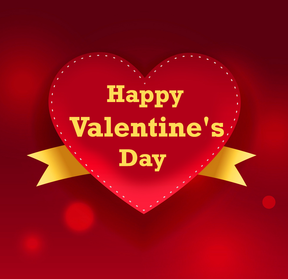 Happy Valentines Day Message with Red Heart