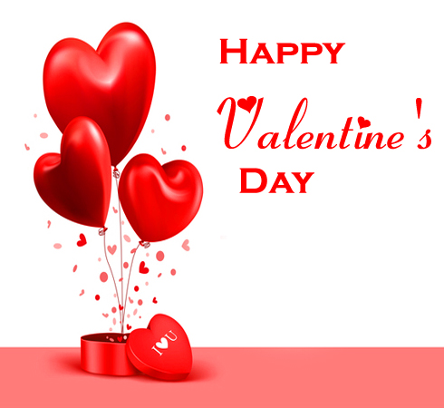 Happy Valentines Day with Hearts Balloon Picture