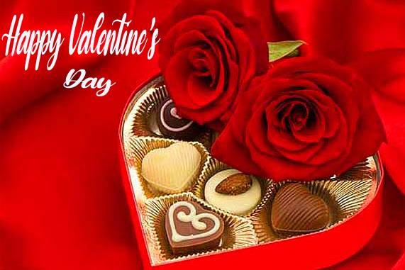Happy Valentines Day with Roses and Chocolate