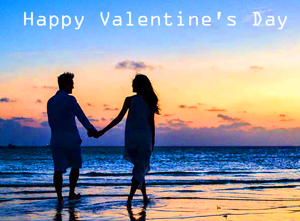 Happy Valentines Day with Sunset Couple Scene