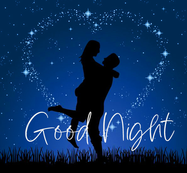 Heart with Stars and Couple Good Night Pic