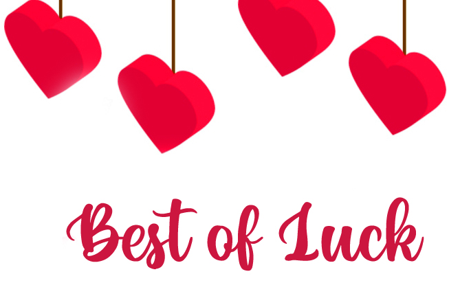Hearts with Best of Luck Wish