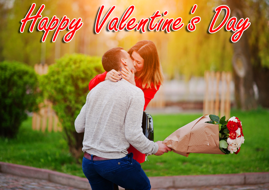 Kissing Couple with Happy Valentines Day Wish