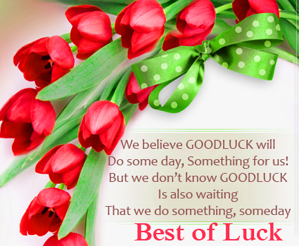 Lovely Best of Luck Wish with Red Tulips