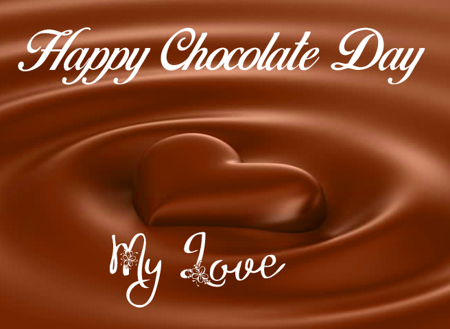 Melted Chocolate Heart Happy Chocolate Day Image