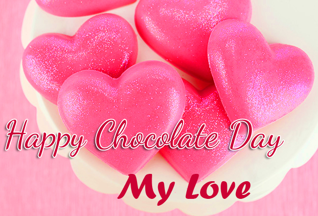 Pink Chocolates with Happy Chocolate Day My Love Image