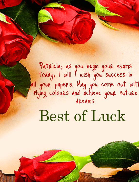 Quotes Best of Luck with Red Roses